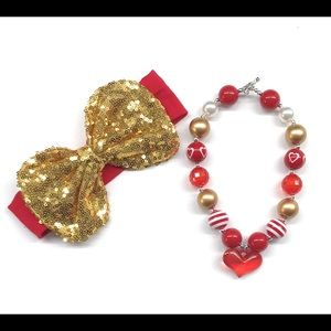 Other - Girls Red/Gold Sequin Headband Necklace Set
